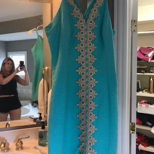 Turquoise & gold Lilly Pulitzer Dress